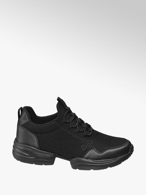 Venice Black Lace Up Gem Chunky Trainers