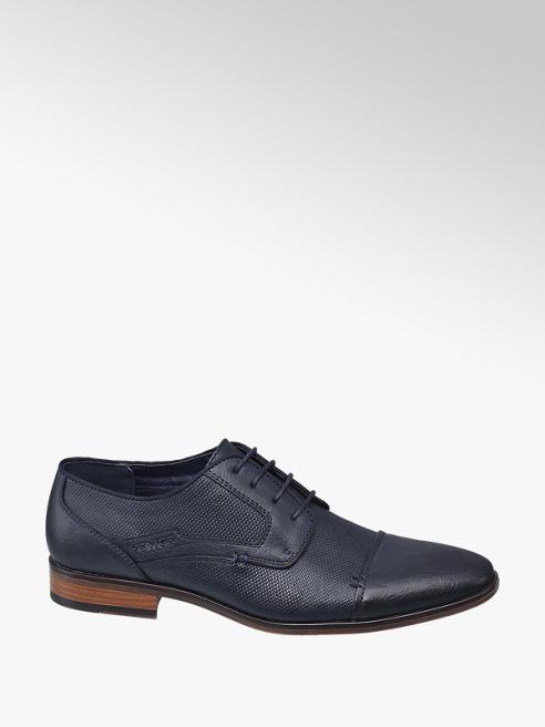 Venice Blauwe geklede schoen vetersluiting