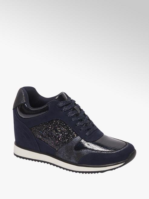 Venice Donkerblauwe sneaker wedge