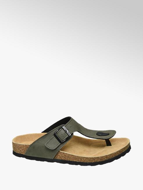 Venice Khaki sandaal leren voetbed