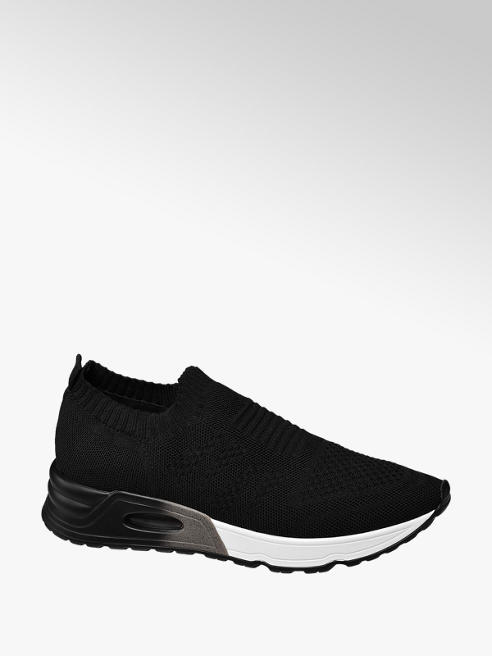 Venice Ladies Black Knitted Slip-on Trainers