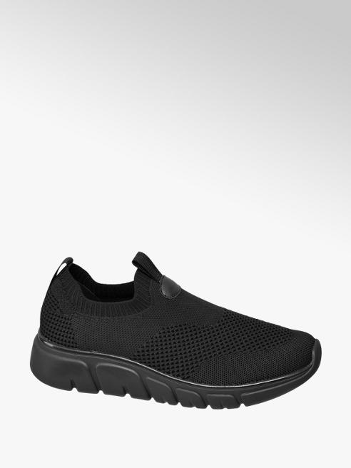 Venice Ladies Black Slip-on Trainers