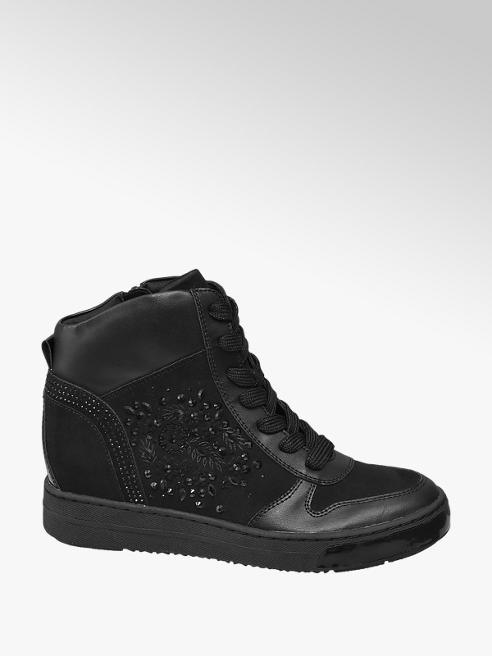 Graceland Black Diamante Hidden Wedge Heel Trainers