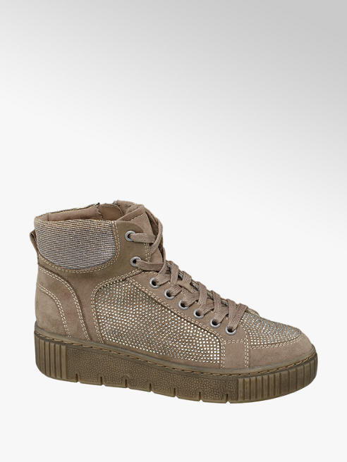 Venice Beige High Top Gem Detailed Trainers