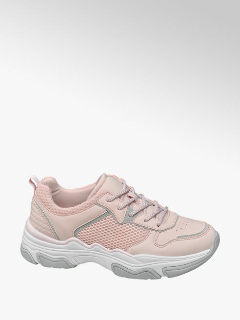 Venice Ladies Pink Reflective Lace-up Chunky Trainers