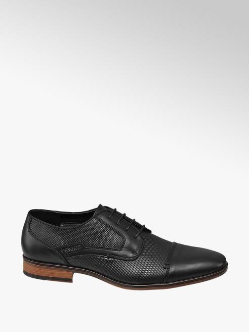 Venice Zwarte geklede schoen vetersluiting