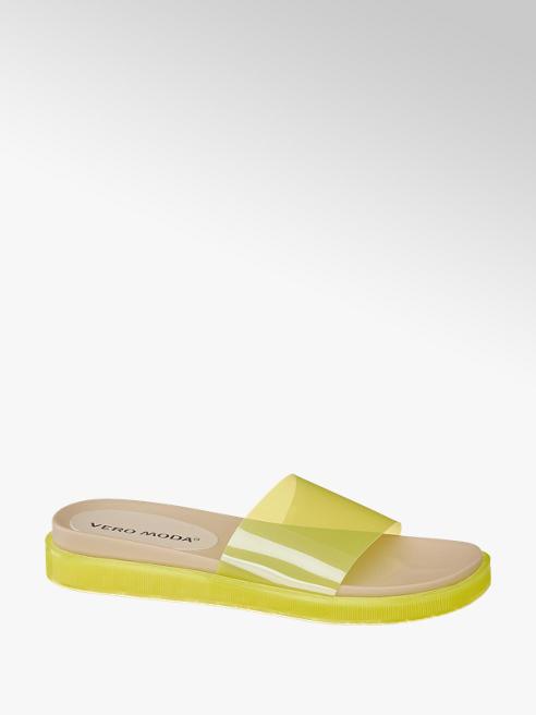 Vero Moda Pantoletten in Gelb-Transparent