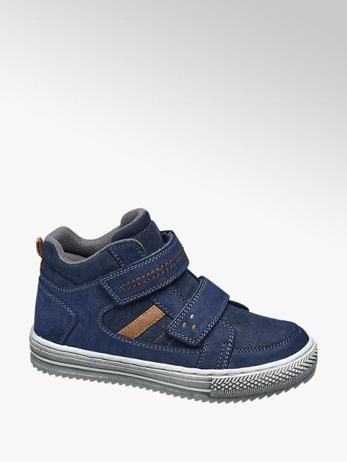 Victory Blauwe halfhoge sneaker klittenband