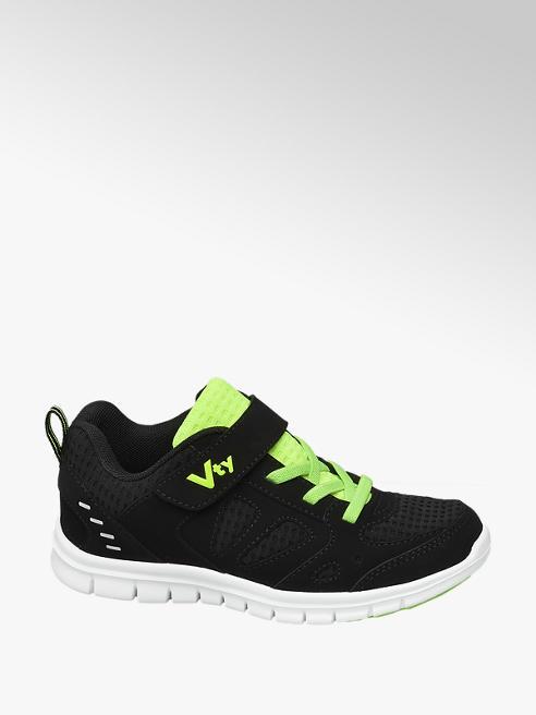 Victory Zwarte sneaker elastische vetersluiting