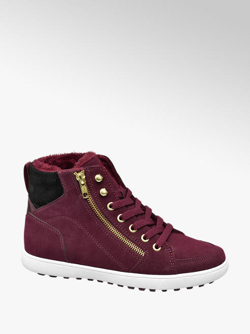Vty Ladies VTY Burgandy Lace-up Trainers