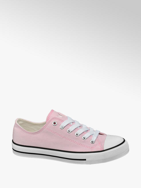 Vty Ladies Pink Lace-up Canvas Shoes