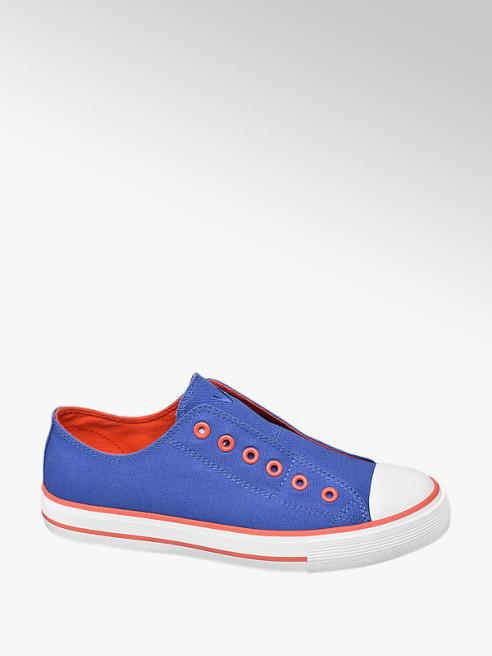 Vty Leinen Slip On Sneaker in Blau mit Neon Details