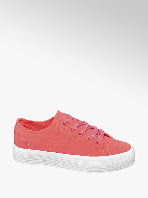Vty Leinen Sneaker in Pink mit Plateau