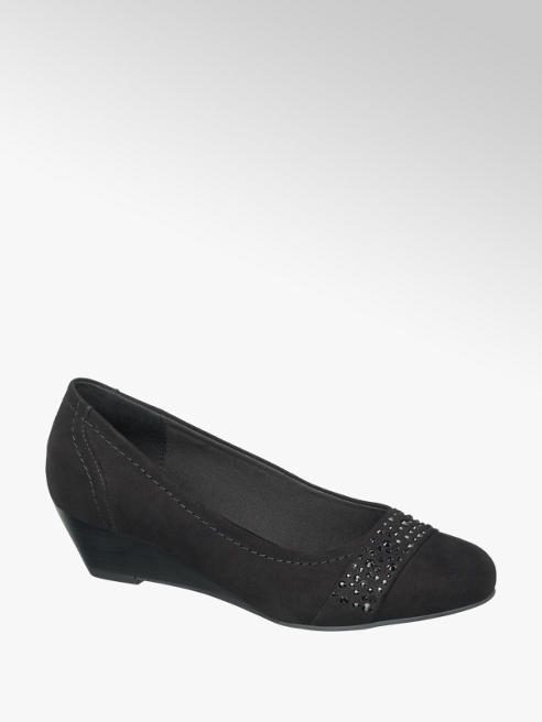 Graceland Black Wedge Court Shoes