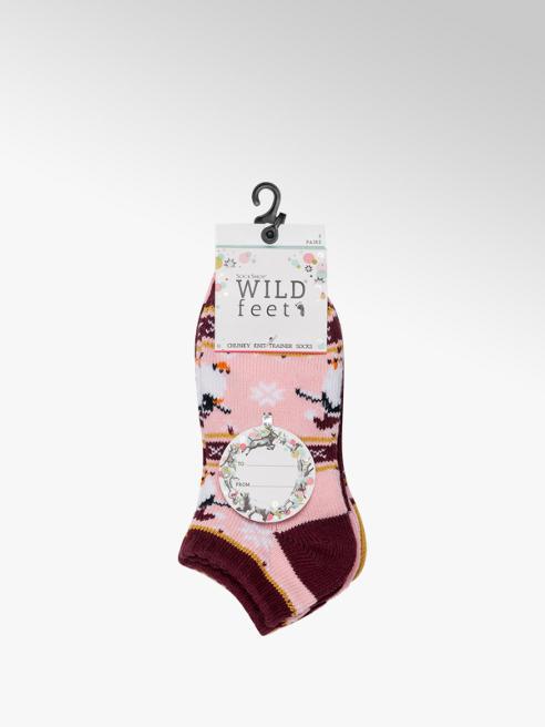 Wildfeet Ladies 3 Pack Wildfeet Chunky Knit Trainer Socks (UK 4-8)