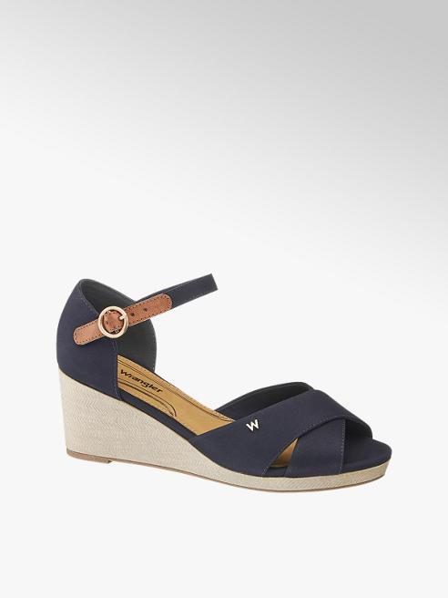 Wrangler Keil Sandaletten in Dunkelblau mit Fessel