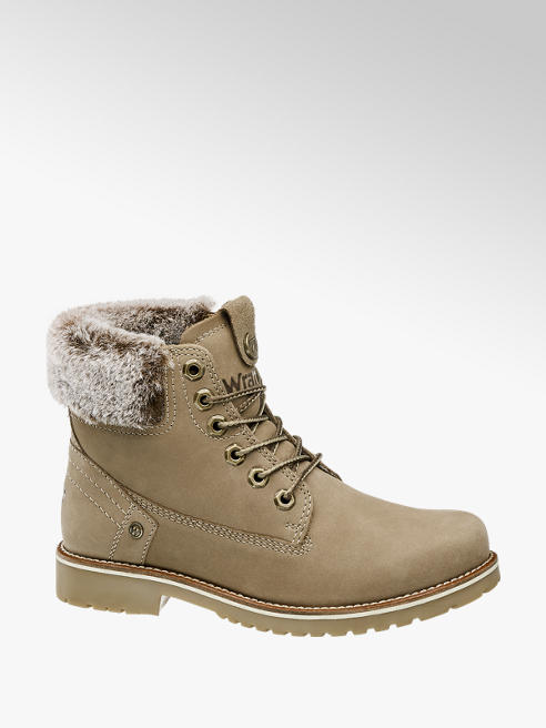 Wrangler Taupe Lace Up Ankle Boots