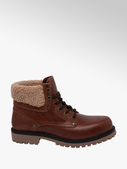Wrangler Mens Wrangler Yuma Folded Brown Leather Lace-up Boots