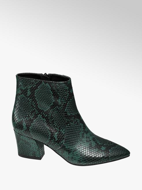 Star Collection Zelené členkové čižmy so zvieracím vzorom Rita Ora