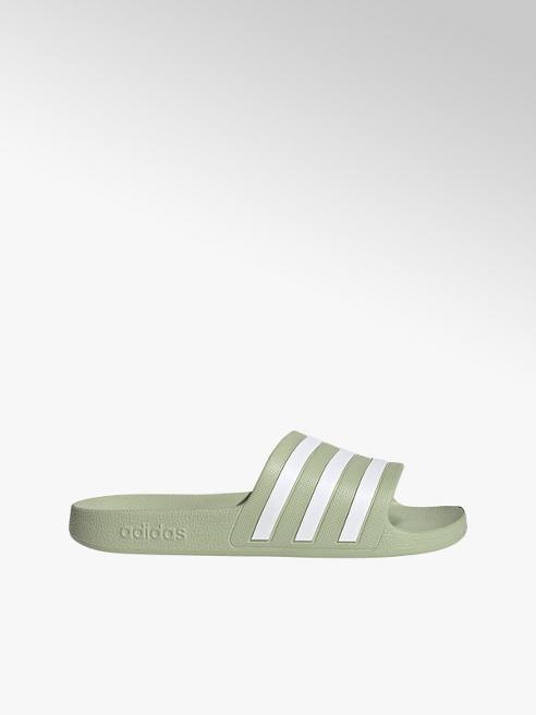 adidas Zeleno-biele plážové šľapky Adidas Adilette Aqua