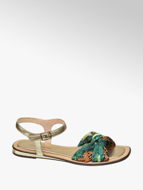 Star Collection Zeleno-zlaté sandály Rita Ora se zvířecím vzorem
