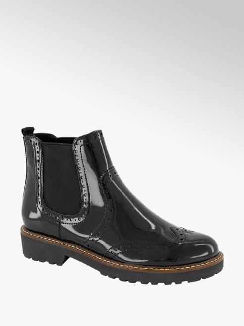 Graceland Zwarte brogue chelsea boot lak