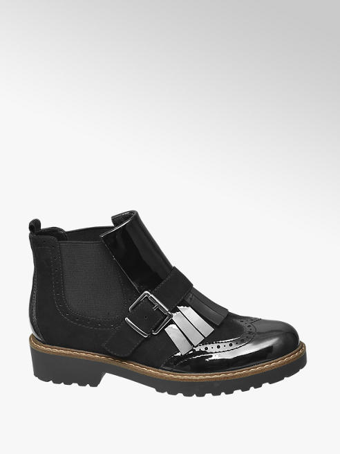 Graceland Zwarte brogue chelsea boot