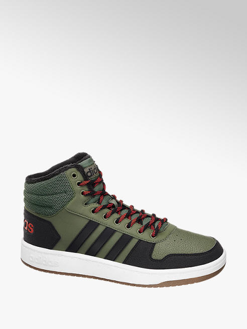 adidas Gefütterte Mid Cut Sneaker HOOPS 2.0 in Dunkelgrün