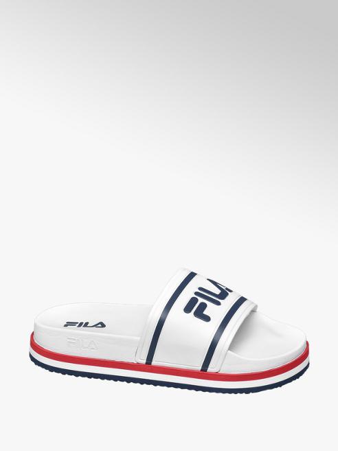 Fila białe klapki damskie Fila z granatowym logo
