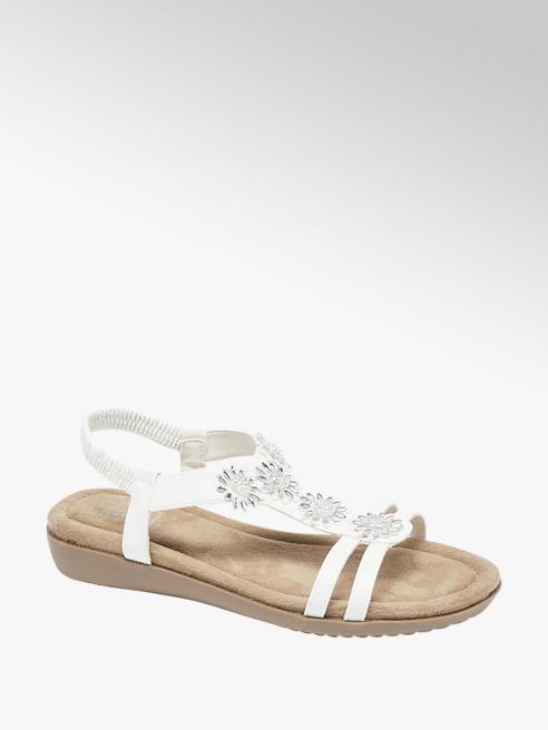 Easy Street białe sandały damskie Easy Street ozdobione kwiatkami