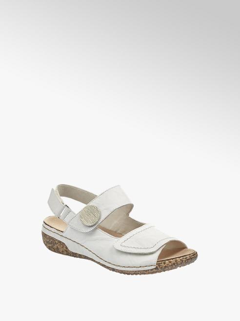 Rieker białe sandały damskie Riekier zapinane na rzepy