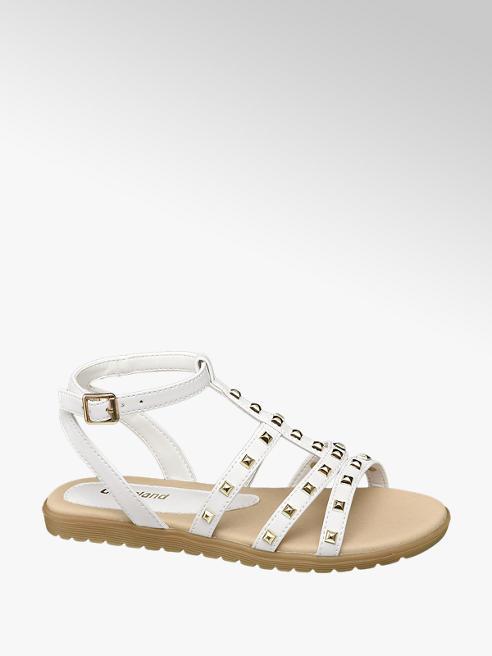 Graceland białe sandały dziewczęce Graceland ozdobione nitami
