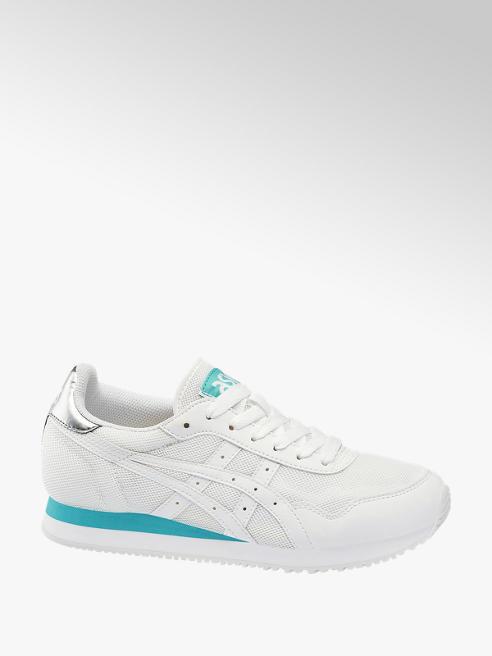 Asics białe sneakersy damskie Asics z niebieskimi elementami