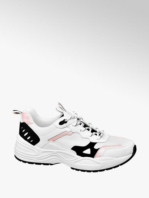 Graceland białe sneakersy damskie Graceland z czarnymi i różowymi elementami
