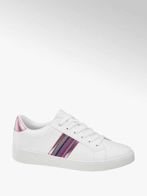 Graceland białe sneakersy damskie Graceland z metaliczną kolorową wstawką