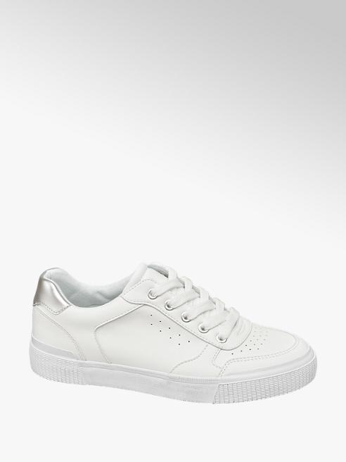 Graceland białe sneakersy damskie Graceland ze srebrną wstawką