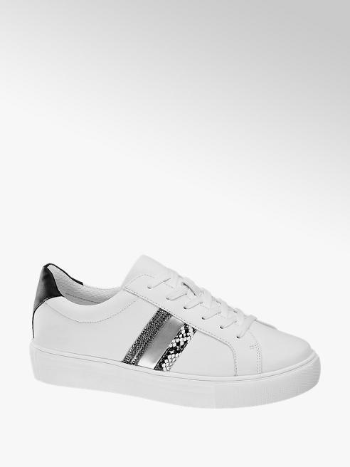 Graceland białe sneakersy damskie Graceland ze srebrnymi elementami