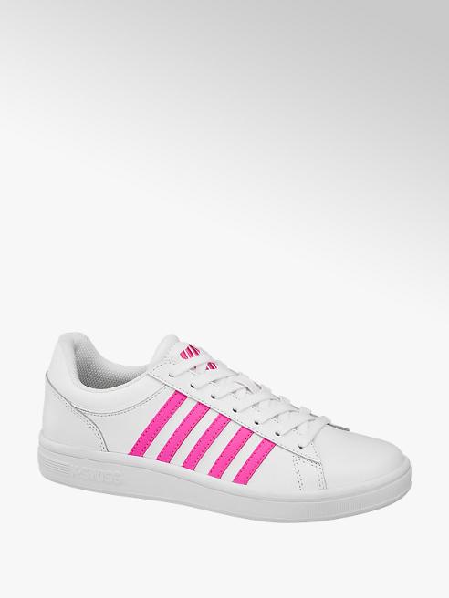 k-swiss białe sneakersy damskie k-swiss z różowymi paskami