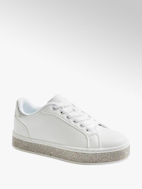 Graceland białe sneakersy dziewczęce Graceland na błyszczącej podeszwie