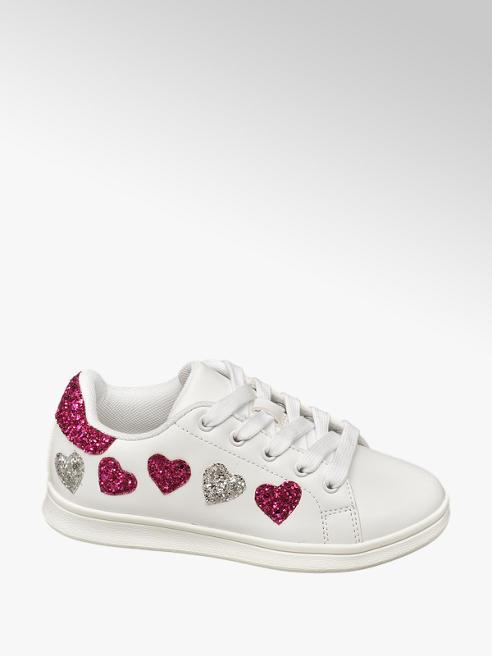 Graceland białe sneakersy dziewczęce Graceland ozdobione serduszkami