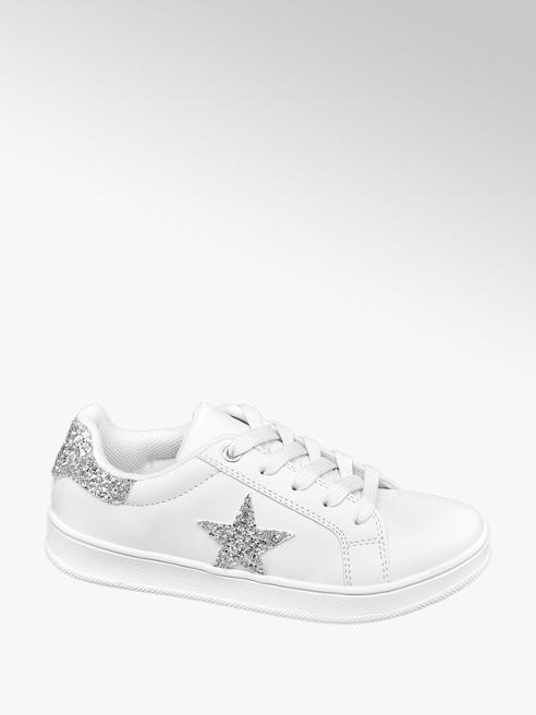 Graceland białe sneakersy dziewczęce Graceland ze srebrną gwiazdą