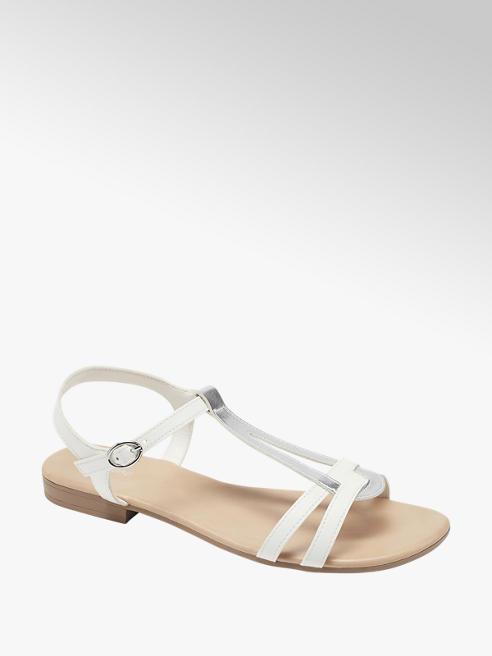 Graceland biało-srebrne sandały damskie Graceland