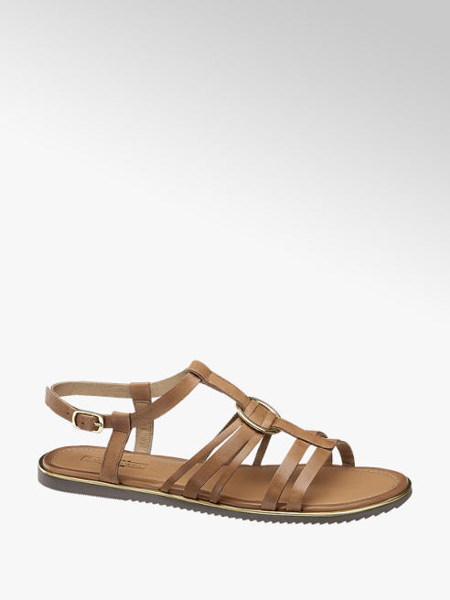 5th Avenue brązowe płaskie sandały damskie 5th Avenue ze skóry