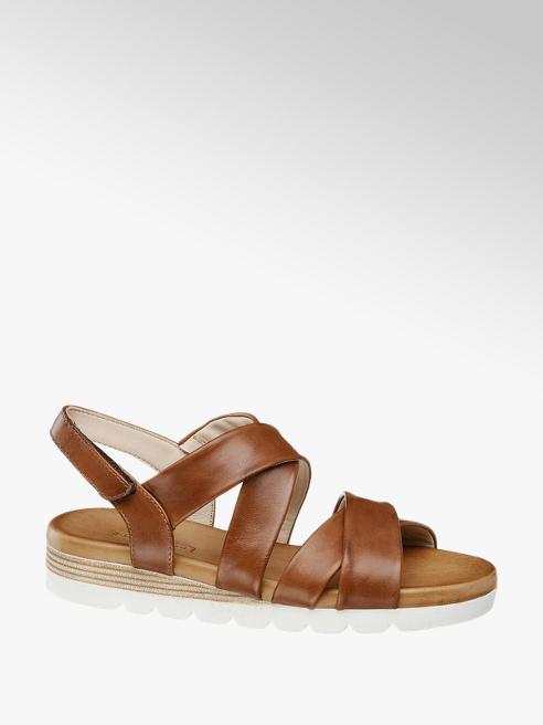 5th Avenue brązowe sandały damskie 5th Avenue na białej podeszwie