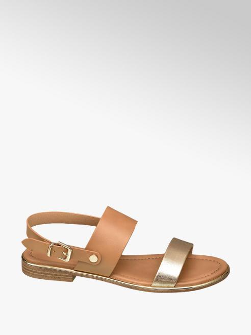 Graceland brązowo-złote sandały damskie Graceland zapinane na paseczek