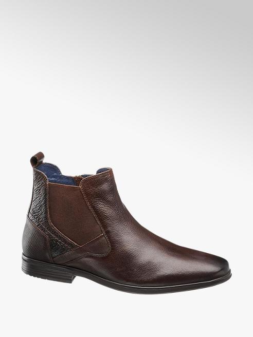 AM SHOE ciemnobrązowe sztyblety męskie Am Shoe ze skóry