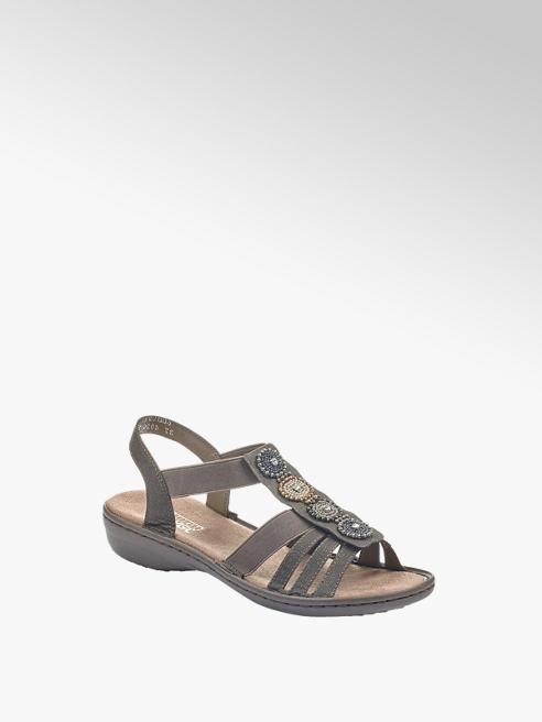 Rieker ciemnoszare sandały damskie Rieker na obcasie
