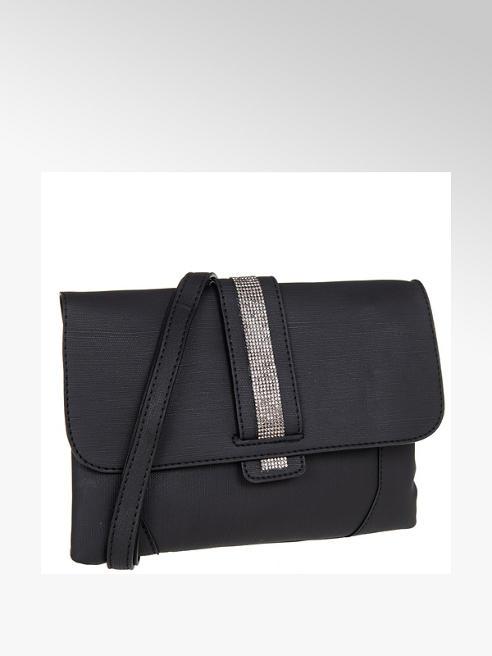 Graceland czarna kopertówka damska z błyszczącym paskiem