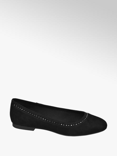 Graceland czarne baleriny damskie Graceland ozdobione blyszczącyminitami