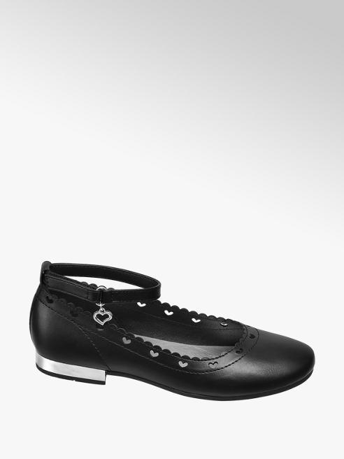 Graceland czarne baleriny dziewczęce z wyciętymi serduszkami